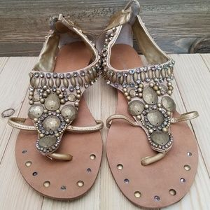 Gold Colored Bejeweled Sandals